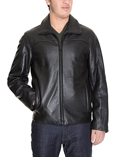 Calvin Klein Solid Black 100% Leather Jacket Coat