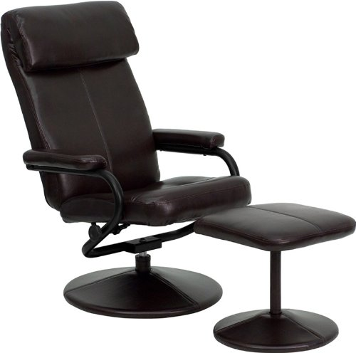 2pc Contemporary Modern Leather Recliner Chair & Ottoman Set, FF-0526-12