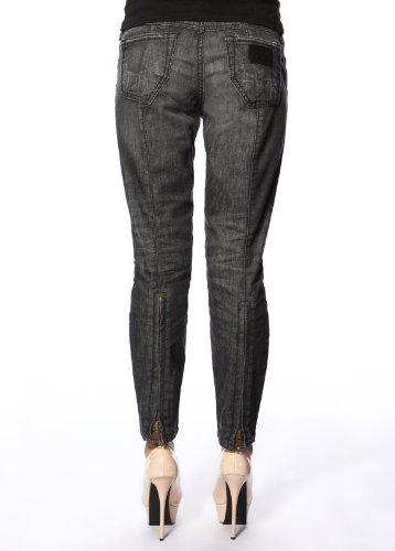 Stitch's Women's Ankle Zip Skinny Jeans Black Slim Worn Denim 27
