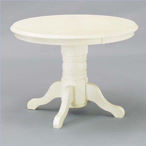 "Home Styles Furniture 42"" Round Pedestal Casual Dining Table in Antique White"