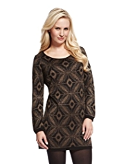 Petite Metallic Effect Knitted Tunic