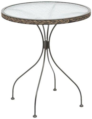 Siena Garden 104862 Bistrotisch Siesta, Gestell Metall schwarz, Geflecht bi-color mocca, Glasplatte ø 64 x 70 cm