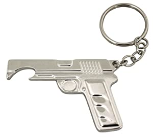 island dogs gun bottle opener keychain silver manual can openers kitchen dining. Black Bedroom Furniture Sets. Home Design Ideas