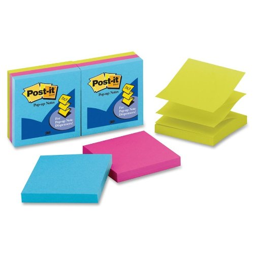 Post-It Pop-Up Notes, 3 X 3-Inches, Assorted Bright Colors, Coordinates With Pebble Dispenser, 6-Pads/Pack