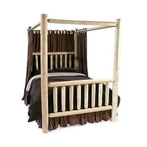 Log bed frames car interior design for Log canopy bed frames