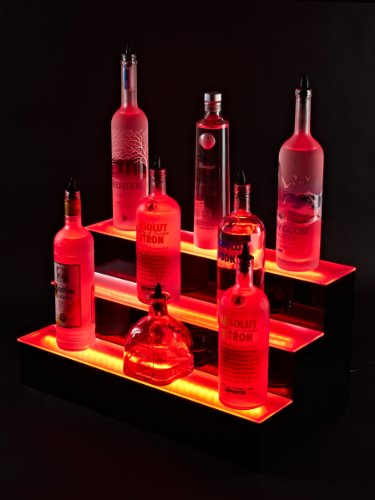 "24"" Inch 3 Tier Lighted Liquor Shelves Bottle Display Led 