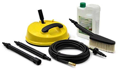 Lavor Kit Outdoor (6.008.0199) - Set accessori per idropulitrici ad acqua fredda: slider patio, sonda spurgatubi, spazzola fissa, detergente anti muffa, prolunghe, adattatori per pistole di altre marche