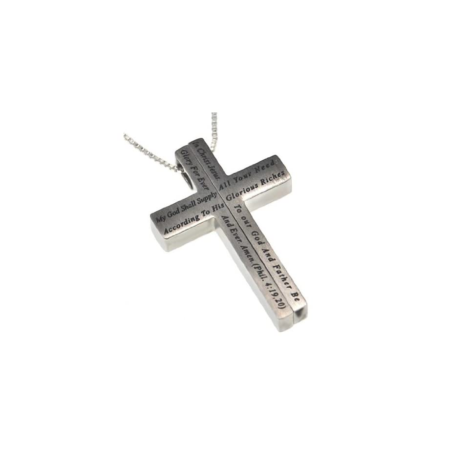 """Christian Womens Stainless Steel Abstinence """"My God Shall Supply All Your Needs According to His Glorious Riches in Christ Jesus. To Our God and Father Be Glory Forever and Ever. Amen. Philippians 419,20"""" 2 Piece Iron Cross Chastity Necklace on"""