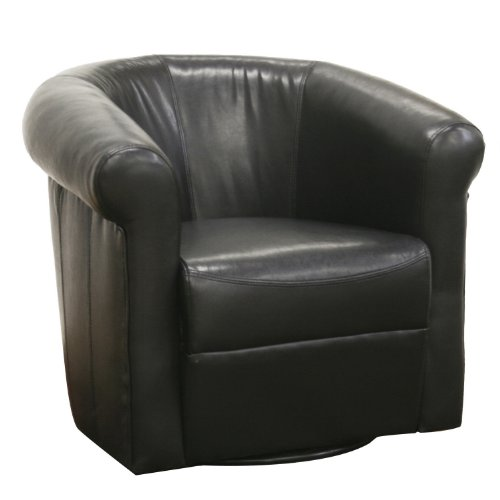 Baxton Studio Julian Black Faux Leather Club Chair With 360 Degree Swivel front-12703