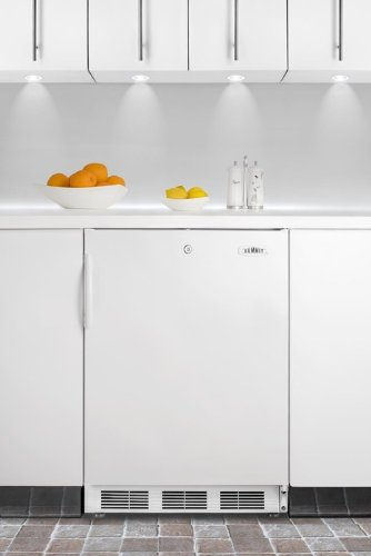 Summit Ct66Lbiada Ada Compliant Refrigerator-Freezer In White For Built-In Use, With Cycle Defrost, Deluxe Interior, And Front Lock