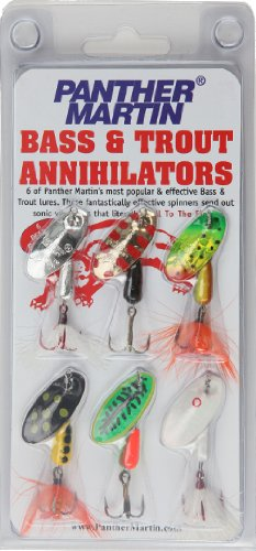 Panther Martin Bass and Trout Annihilator Spinner Fishing Lure Kit, Pack of 6