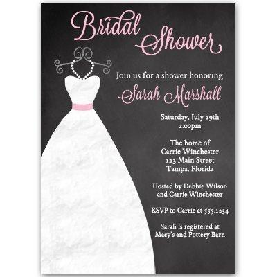 Chalkboard, Bridal Shower Invitations, Gown, Dress, Wedding, Black, Pink, Blackboard, Set of 10 Custom Printed Invites with Envelopes, FREE Shipping, Simple