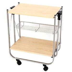 Carrello tavolino porta vivande pieghevole 2 ripiani legno e metallo 34x57x63cm casa - Carrello portavivande pieghevole ...