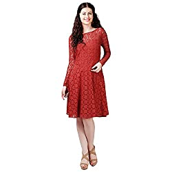 Eavan Women's Party Wear Full netted Cotton Dress