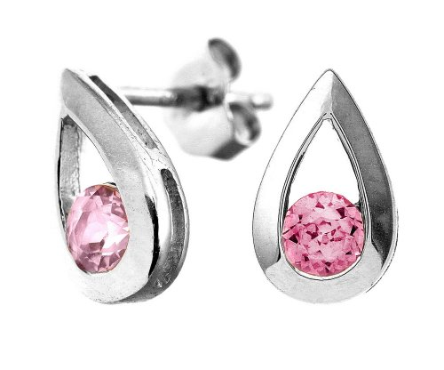 9ct White Gold 0.40ct Created Pink Sapphire Teardrop Earrings