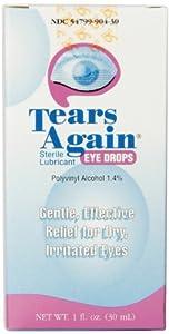 Tears Again Eye Drops, Sterile Lubricant, 1 fl oz (30 ml) (Pack of 4)