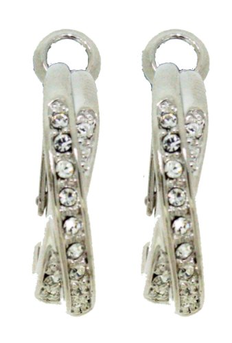 Silver Colour Clear Crystal 'Kiss' Hoop Earrings