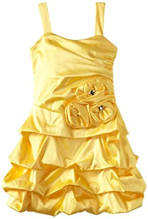 Ruby Rox Big Girls' Rosette Pick-Up Dress, Yellow, 8