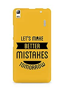Amez Lets make better Mistakes Tomorrow Back Cover For Lenovo A7000