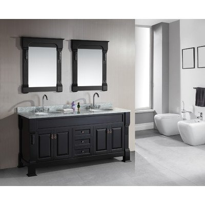 Design Element Dec081-Wtp Marcos 72-Inch Double Sink Vanity Set With Carrara White Marble Countertop, Espresso