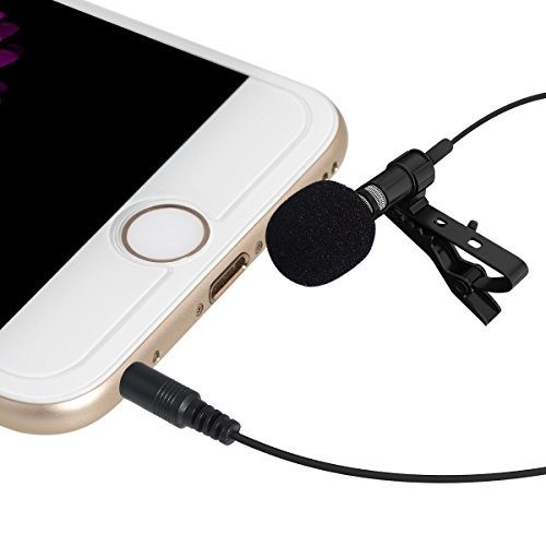 QzoneFire Black Deluxe Lavalier Lapel Microphone Clip-on Omnidirectional Condenser Mic Compatible with Apple iPhone, iPad, iPod Touch ,Samsung Android and Windows Smartphones (Ipad Windows compare prices)
