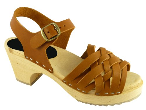 Swedish Clogs : Braided Clogs in Wax Tan Leather