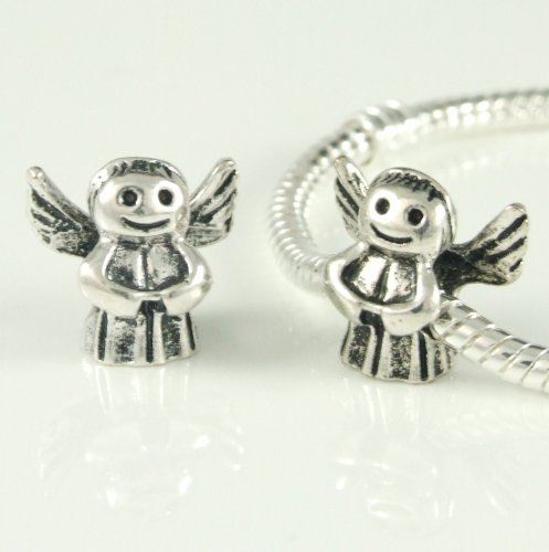 Stone River Sterling Silver Plated Angel Charm Bead (Fits Pandora, Chamilia, Biagi, Troll Standard Size Bracelet)