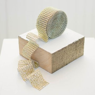 Diamond Mesh Ribbon Roll, Wedding Bling Streamer, 1.5 Inch X 5 Yards, Gold