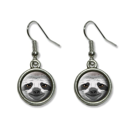 Sloth Face Novelty Dangling Dangle Drop Charm Earrings
