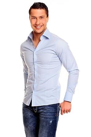 Redbridge Classic Chemise de travail Col chemise Manches longues Homme - Bleu - Hell-Blau - FR : X-Small (Taille fabricant : 54)