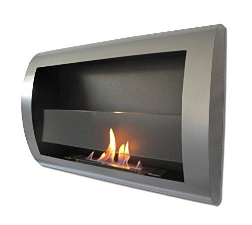 charleston luxury grey metal wall mount ventless bio ethanol fireplace with burner insert 100. Black Bedroom Furniture Sets. Home Design Ideas