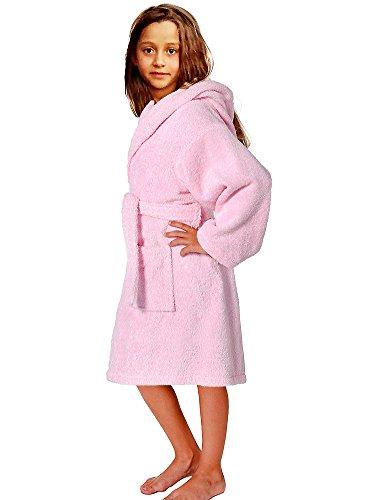 Terry Loop Bathrobe 100% Cotton Towel Pink Kids Hooded Robe Girls & Boys, Size L