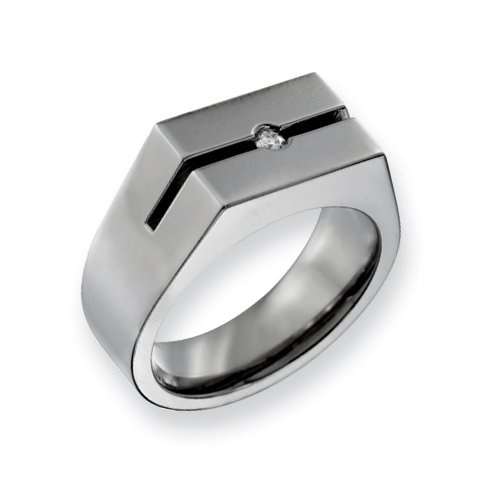 Titanium With Diamond Brushed Ring, Size 12.5