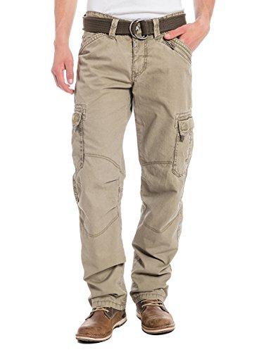 Timezone Textil Men's Benitotz Cargo Pants Incl. Belt Straight Trousers, Beige (Dirty Sand 6166), W32/L32