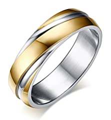 buy Stainless Steel Wedding Bands Two-Tone Grooves Engagement Rings, Gold, 6Mm, Size 12