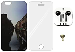 4-in-1 Mobile Back Cover, Tempered Glass, Earphone with Charms Cap for Apple iPhone 6 Plus ZT3267