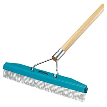 "Commercial Groomer Carpet Rake - 18"" Wide with 54"" Long Handle"