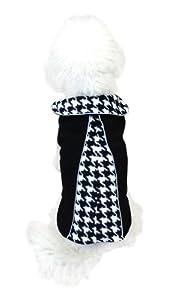 Legitimutt Reversible Houndstooth Fleece Dog Coat, Size 20, Black/White
