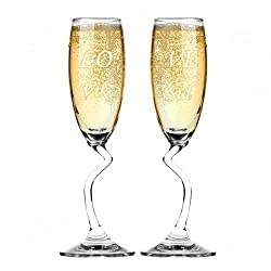 Salsa Champagne Flutes Duo - Gift for Couples (Set of 2)