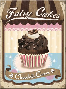 "Kühlschrank Magnet 6x8 cm ""Fairy Cakes Chocolate Cream"" Nostalgie Tin Sign EMAG40"