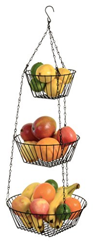 Durable 3-Tier Round Iron Hanging Basket - 25in Long / Powder coated in Black (Black Hanging Kitchen Baskets compare prices)