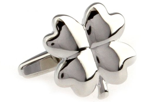Super Lucky Silver Four Leaf Clover with Gift Box Cufflinks Cuff Links