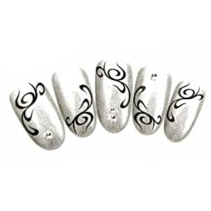 stickers tribal ongles Ongles Tribal: Noir : Couleur Nail'z Et  Amazon.fr Blanc  Stickers