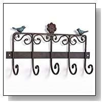 Bird & Flower Scrollwork Design Wall Mounted Bronze Cast Iron Hanging Coat Storage Rack with 5 Hooks