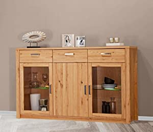 highboard anrichte sideboard wildeiche teil massiv ge lt struktur eiche schrank. Black Bedroom Furniture Sets. Home Design Ideas