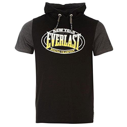 everlast-mock-layer-herren-t-shirt-kurzarm-leicht-kapuzen-tee-top-freizeit-schwarz-large