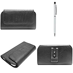 DMG Durable Cell Phone Pouch Carrying Case with Belt Clip Holster for BlackBerry Q5 (Black) + Pen Stylus