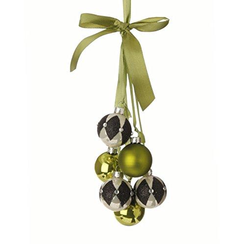 "RAZ Imports - Natural Elegance - 12"" Harlequin and Green Ball Cluster Christmas Tree Ornament on Green Satin Ribbon"