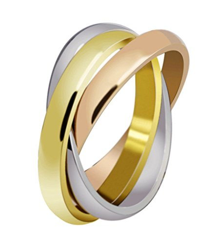 Womens-Stainless-Steel-Trinity-Ring-Tri-Tone-Interlocked-Rolling-Wedding-Band-Gold-Rose-Silver