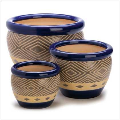Gifts & Decor Cobalt Planter Ceramic Garden Plant Flower Pot Set, 3-Piece (Cobalt Ceramic Pot compare prices)